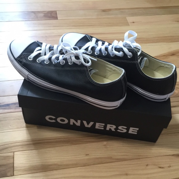 Converse Other - Brand New Black Leather Lowtop Converse